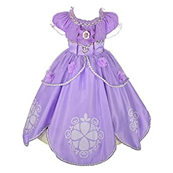 Dressy Daisy Girls' Princess Sofia Dress Up Costume Cosplay Fancy Party Dress Size 2T