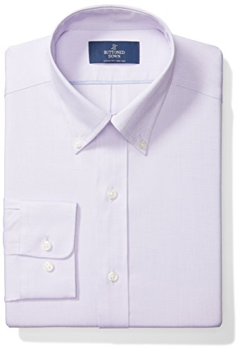 Buttoned Down Men's Classic Fit Button-Collar Solid Non-Iron Dress Shirt (No Pocket), Purple, 17.5