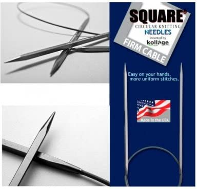 """5.5 mm Kollage 41 cm :Square Knitting Needles Firm Cable: 9 US 16/"""""""