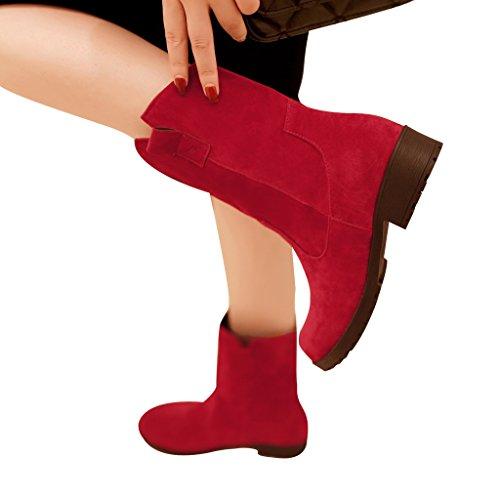 Lieve Tijd Casual Lage Hakken Korte Laarzen Rood
