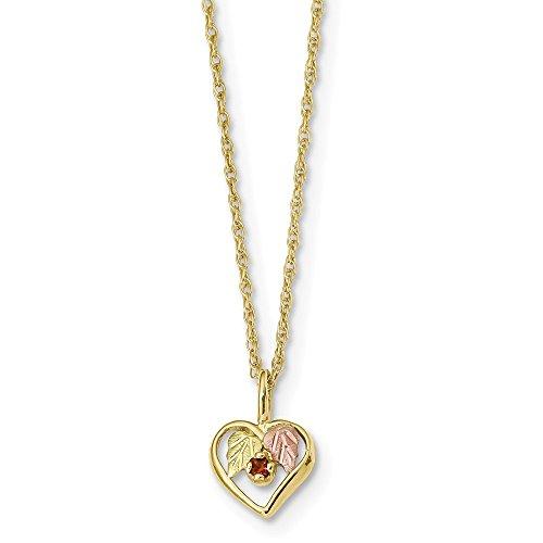 10K Yellow Gold Black Hills Heart Garnet Necklace Solid 1.25 mm 18 in 10.07 mm 18 in Black Hills Gold Necklace with Pendants Ropa Necklaces - Jewelry Hill Garnet