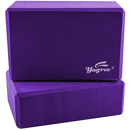 Yogree (2-PC) Yoga Blocks, 9'x6'x4' - High Density EVA Foam Brick Provides Stability Balance & Support, Improve Strength and Deepen Poses - Great for Yoga, Pilates, Workout, Fitness & Gym (Purple)