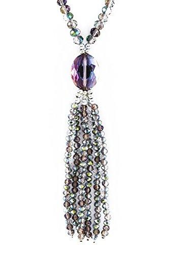 Allegro Medium-Dark Aurora Borealis Lavender-Blue-Green Irisdescent Graduated Glass Bead Tassel Drop Necklace 30