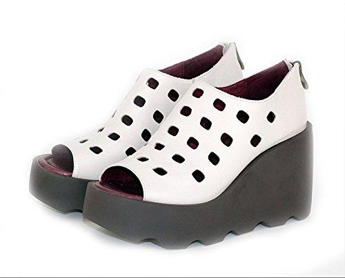 con damas para blanco sandalias con Sandalias gruesa Lin impermeable 37 perforado verano Hueco plataforma zapatos en Xing hueco twqvEnp