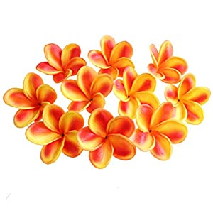 Xilyya 10PCS Natural Real Touch Artificial Not Silk Plumeria Flowers Head with Stem for DIY Cake Decoration and Wedding Bouquets (Orange) 118