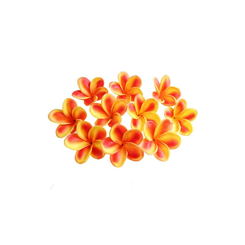 silk flower arrangements xilyya 10pcs natural real touch artificial not silk plumeria flowers head with stem for diy cake decoration and wedding bouquets (orange)