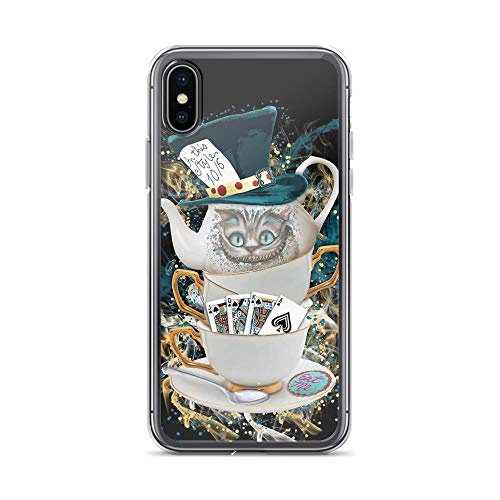 iPhone X/XS Pure Clear Case Cases Cover Alice in Wonderland Mad Hatter Cheshire Cat -