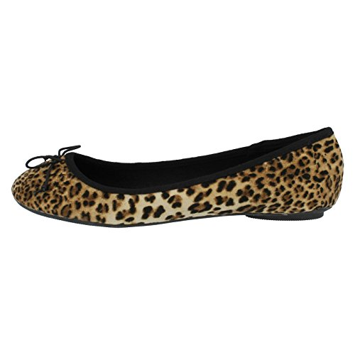 F8859 Tan Spot Ladies Flats On Leopard wI6trn6vqx