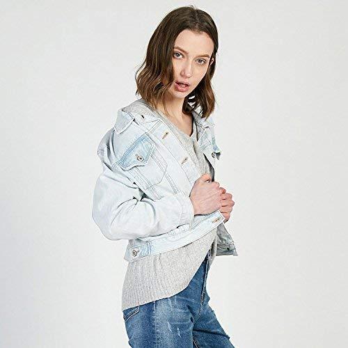 Elegante Confortevole Marca Giacche Single Bavero Casual Di Donna Giubbino Jeans Manica Blau Corto Autunno Anteriori Mode Cappotto Lunga Bolawoo Tasche Breasted UvSfwxnEqU