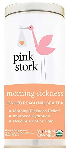 Pink Stork Morning Sickness Tea: Ginger-Peach Nausea Tea, USDA Organic, Support Digestion + Hydration, Biodegradable Sachets, 30 Cups