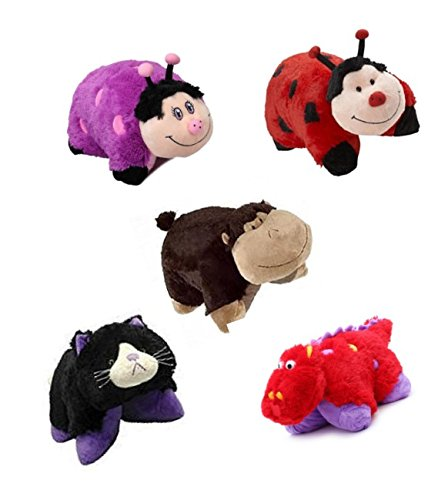 Costume Bugs Homemade Bunny (Pillow Pets Pee-Wees 11 Inch Folding Stuffed Animal Fiery Dragon Ms. Lady Bug Silly Monkey Dreamy Lady Bug Curious Cat Bundle of)