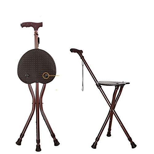 Old People Folding Stool Walking Stick With Chair Function Walking Aids Seat Sticks Walking Seat Cane Safety Load-bearing: 550 (lb),Brown by Yade