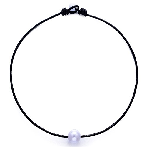 White Knotted Leather (Artificial Pearl Choker Necklace Handmade Jewelry Genuine Leather Cord Knotted for Women Girl (Black leather-White pearl, 15 inches))