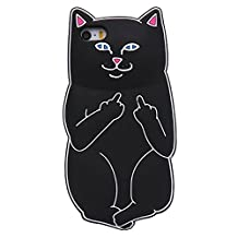 iPhone SE Case, 3D Cute Lovely Cartoon Animal Soft Silicon Phone Cases Middle Finger Pocket Base Cat Case for iPhone 5 5S 5C SE Black Cat