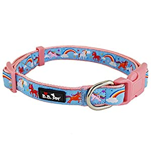 Bestbuddy Pet Fashion Designer Cartoon Unicorns and Rainbows Durable Nylon Ribbon Dog Collar Pet Collar Trendy Comfortable Adjustable Dog Collar with Buckle BBP035