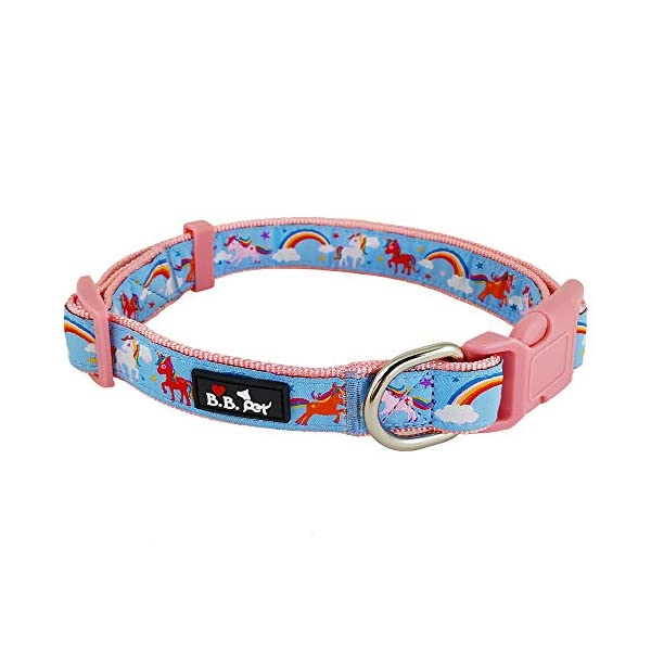 Bestbuddy Pet Fashion Designer Cartoon Unicorns and Rainbows Durable Nylon Ribbon Dog Collar Pet Collar Trendy Comfortable Adjustable Dog Collar with Buckle BBP035 3