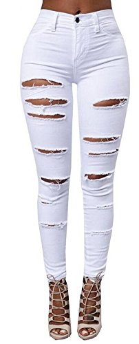 Women's Casual Ripped Holes Skinny Jeans Jeggings Straight Fit Denim Pants (US 10, White 1) ()