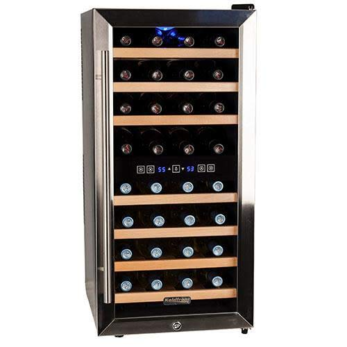 Koldfront TWR327ESS 32 Bottle Free Standing Dual Zone Wine Cooler - Black and Stainless Steel (Lock Cooler Wine With Zone Dual)