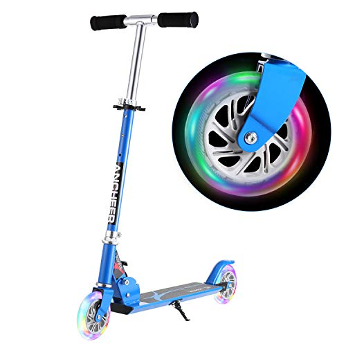 ANCHEER Scooter for Kids with LED Light Up Wheels | Children Foldable Adjustable Height Mini Aluminum Alloy Kick Scooter, Gift for Boys Girls 4 to 10 Years Old (Blue)