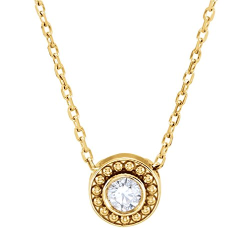 Diamond Solitaire Granulated Bead Design Slide 14k Yellow Gold Pendant Necklace, 16