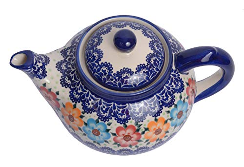 Traditional Polish Pottery, Handcrafted Ceramic 7-Cup Teapot with Lid (1350ml), Boleslawiec Style Pattern, H.101.BLUELACE