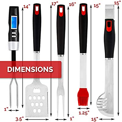 Ultimate BBQ Grill Tools Set with Meat Thermometer & 4 Stainless Steel Grilling Accessories - 5 Piece BBQ Accessories Set Includes Tongs, Spatula, Fork, Silicon Basting Brush and Instant Read Digital