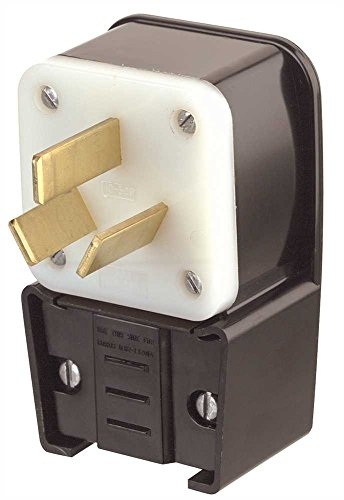 Leviton 9332-P 30 Amp, 125/250 Volt, Straight Blade, Plug, Industrial Grade, Non-Grounding, Angle, Black (Dryer Cord Clothes)