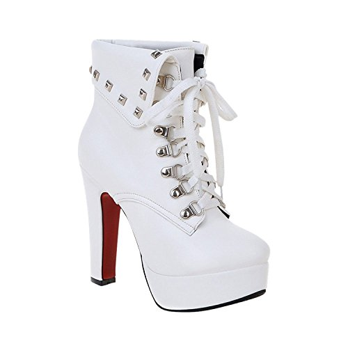 Minetom Mujer Otoño Invierno Botines Remaches Zapatos De Cordones Zapatos Plataforma Tacón Alto Martin Boots Blanco