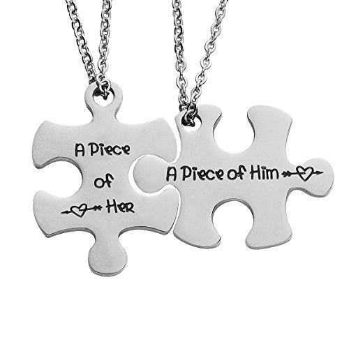 omodofo Valentine's Day His and Hers Puzzle Piece Pendant Necklace/Keychain Set Personalized Couples Stainless Steel Hand Stamped Gift Jewelry Chain/Keyring (A Piece of him & her (Necklace))