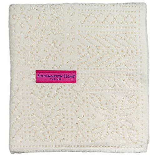 Southampton Home Lace Weave Baby Shawl (Ivory)