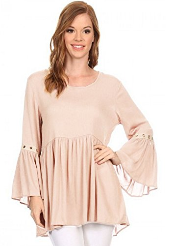 Vision Grommett Bell Sleeve Boho Tunic Shirt (Cream, X-Large)
