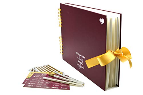 Scrapbook Kit - 80 Pages Photo Album - Scrapbooking Picture Album - Craft Paper DIY Memory Book, Wedding Guestbook, Travel Scrapbook,Baby Shower or Anniversary Photo Book - Dark Red by ()