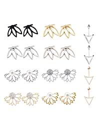 Blinst 4-10 Pairs Ear Jacket Stud Lotus Flower Earrings for Women and Girls Set for sansitive Ears Simple Chic Jewelry