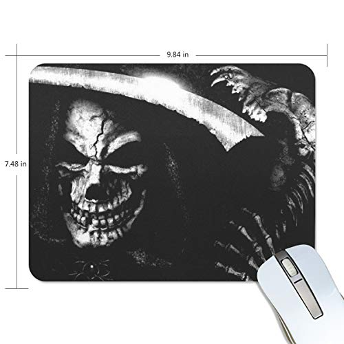 Gaming Mouse Pad Custom, Scary Grim Reaper Mouse Pad, Thick Non-Slip Rubber Base Mousepad for Gaming Office 9.84x7.48 Inch (190x250x5mm) -