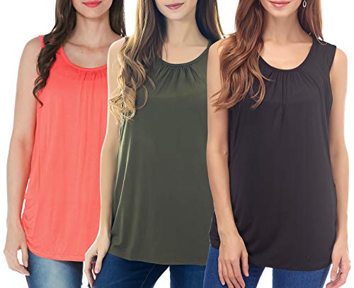 - Smallshow Women's Maternity Nursing Tops Breastfeeding Clothes XX-Large Olive Green-Black-Coral