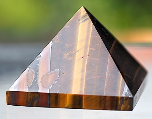 (High Quality Tigers Eye Pyramid Chakra Energy Generator Reiki BIG Size Approx. 1.5-2