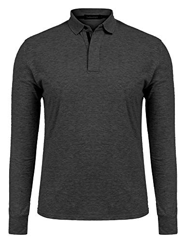 Uniboutique Mens Dry Fit Golf Polo Shirts 2 Button Slim Fit Long Sleeve Polo T Shirt Dark Grey S