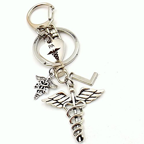 Physicians Assistant Caduceus Medical Keychain Bag Charm Pant Loop Car Accessory Pocket Silver-tone Initial