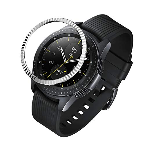 GELISHI Stainless Steel Bezel Ring Compatiable Galaxy Watch 42mm/Gear Sport Bezel Loop Adhesive Cover Anti Scratch & Collision Protector for Galaxy Watch Accessory - Silver