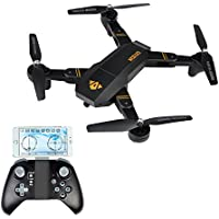 Hapinic 2.0MP Wifi FPV Quadcopter with 720P 120° Wide Angle Camera Foldable Arm Altitude Hold Headless Drone
