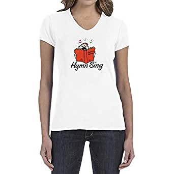 IngraveIT White Cotton V Neck T-Shirt For Women