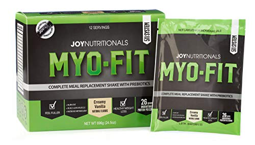 (MYO-FIT Weight Loss, Fat Burning, Lean Muscle Building, Low Glycemic Complete Whey Protein Meal Replacement Shakes w/Prebiotics & Dietary Fiber. Only 230 Calories. (Creamy Vanilla))