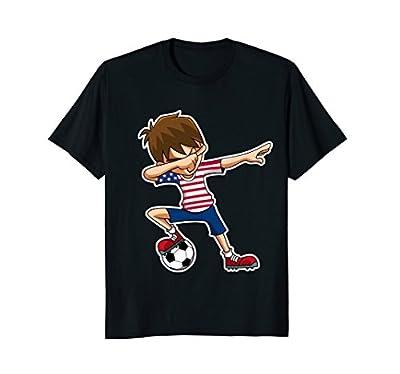 Soccer Shirt for Boys, Dabbing, American Flag Jersey, USA