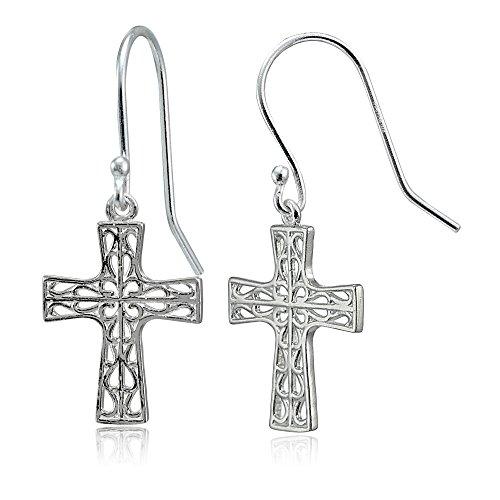 - Sterling Silver High Polished Filigree Cross Dangle Earrings