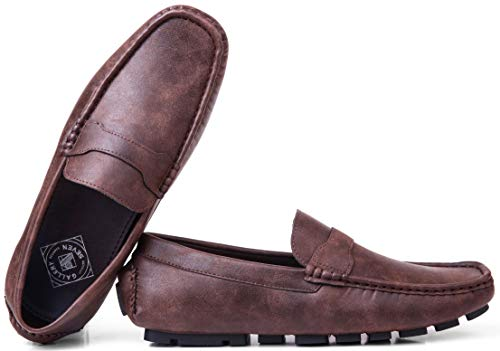 Gallery Seven Driving Shoes for Men - Casual Moccasin Loafers - Saddle Brown - US-10D(M)|UK-9.5|EU-44