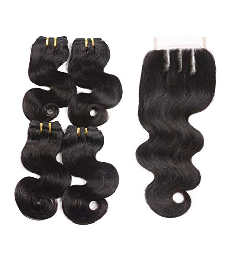 4 Bundles Brazilian Hair Bundles with Closure Body Wave 10