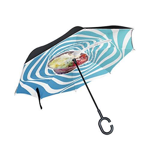 (DKRetro Double Layer Acai Berry Bowl Inverted Umbrellas- Reverse Folding Umbrella for Car, C-Shaped Handle Umbrella with Light Reflection Strip)