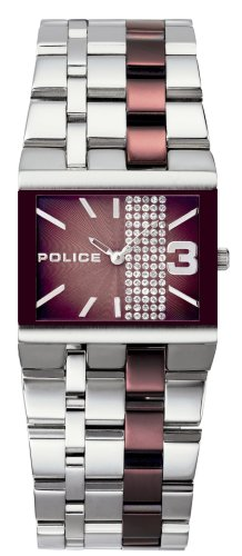 Police Women's PL-10501BST/12M Glamour Square -X Brown Dial Watch
