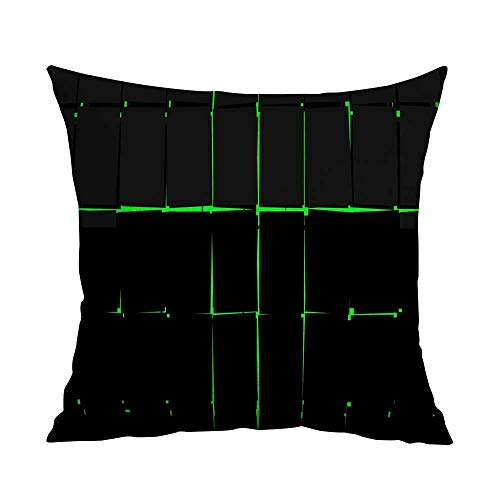 Opus Queen Bed - CRICKOOM Pillowcases Queen Abstract Science Fiction Graphic Design Green Black W19.8 x L19.8,Throw Pillows with Quotes