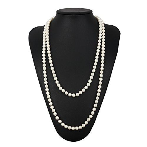1920s Accessories Set Flapper Headband,Earrings,Pearl Necklace,Gloves,Net Tights,Pearl Bracelet (Set-13) by ZeroShop (Image #8)'